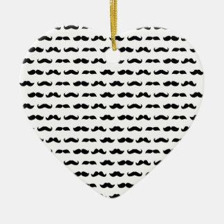Wellcoda Moustache Epic Print Facial Hair Ceramic Heart Decoration