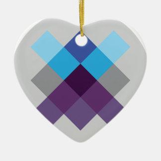 Wellcoda Multi Square Circle Crazy Pattern Ceramic Heart Decoration