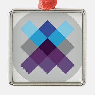 Wellcoda Multi Square Circle Crazy Pattern Silver-Colored Square Decoration