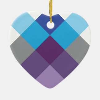 Wellcoda Multi Square Cross Crazy Pattern Ceramic Heart Decoration