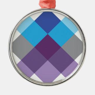 Wellcoda Multi Square Cross Crazy Pattern Silver-Colored Round Decoration