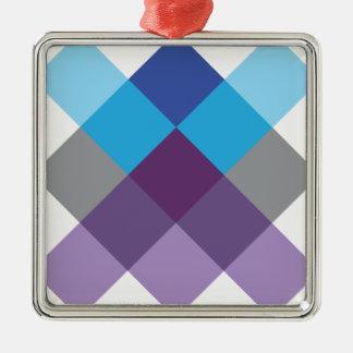 Wellcoda Multi Square Cross Crazy Pattern Silver-Colored Square Decoration