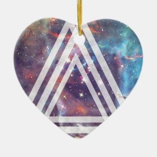 Wellcoda Multi Triangle Space Universe Fun Ceramic Heart Decoration