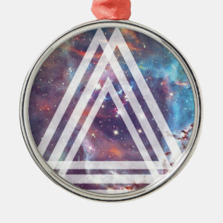 Wellcoda Multi Triangle Space Universe Fun Silver-Colored Round Decoration