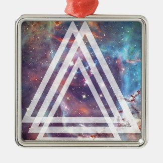 Wellcoda Multi Triangle Space Universe Fun Silver-Colored Square Decoration