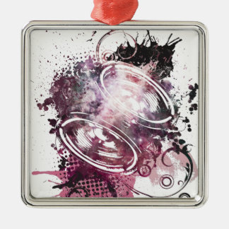 Wellcoda Music Headphone Love Feeling Silver-Colored Square Decoration