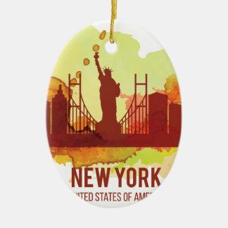 Wellcoda New York City NYC USA Liberty Christmas Ornament