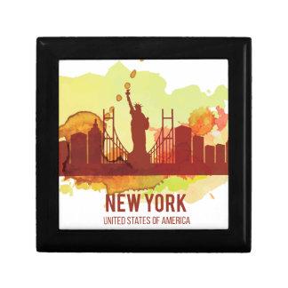 Wellcoda New York City NYC USA Liberty Small Square Gift Box