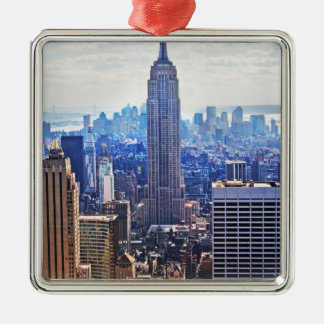 Wellcoda New York City NYC USA Urban Life Silver-Colored Square Decoration