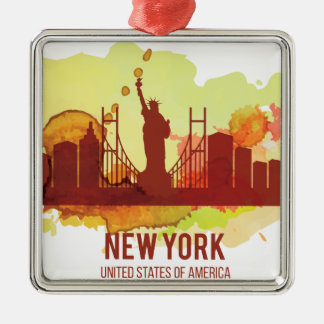 Wellcoda New York City NYC USA View Tour Silver-Colored Square Decoration