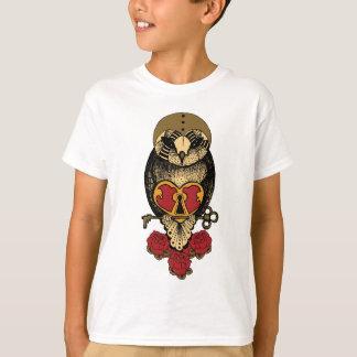 Wellcoda Old School Owl Rock Locked Heart T-Shirt