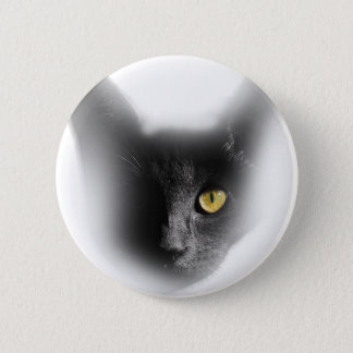 Wellcoda One Eyed Black Cat Freaky Kitten 6 Cm Round Badge