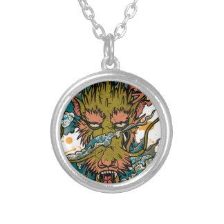 Wellcoda Oriental Dragon Head Evil Beast Silver Plated Necklace