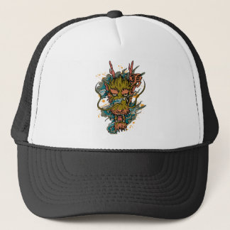 Wellcoda Oriental Dragon Head Evil Beast Trucker Hat