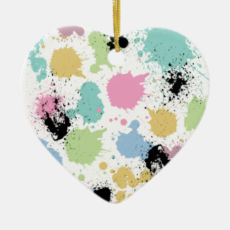 Wellcoda Paint Fun Splat Effect Colourful Ceramic Heart Decoration