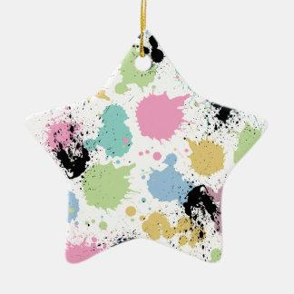 Wellcoda Paint Fun Splat Effect Colourful Ceramic Star Decoration