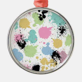 Wellcoda Paint Fun Splat Effect Colourful Silver-Colored Round Decoration