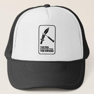 Wellcoda Pen Mightier Sword Dagger Funny Trucker Hat