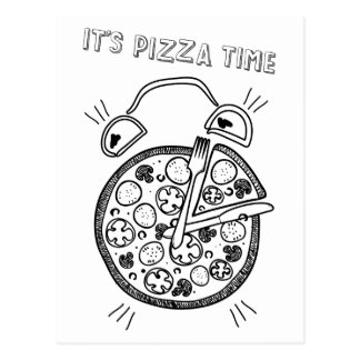 Wellcoda Pizza Time Clock Eat Funny Watch Postcard