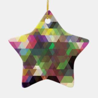 Wellcoda Polygon Colour Shape Crazy Pattern Ceramic Star Decoration