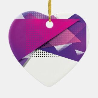 Wellcoda Purple Triangle Print Trend Set Ceramic Heart Decoration