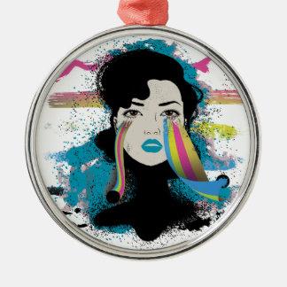 Wellcoda Rainbow Tears Lady Colour Face Christmas Ornament