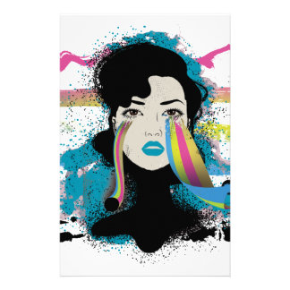 Wellcoda Rainbow Tears Lady Colour Face Customised Stationery