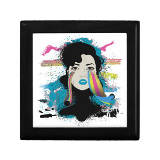 Wellcoda Rainbow Tears Lady Colour Face Small Square Gift Box