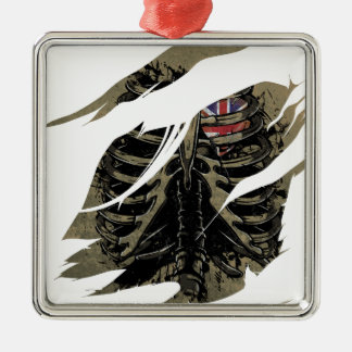 Wellcoda Rib Cage Love UK Skeleton Heart Silver-Colored Square Decoration