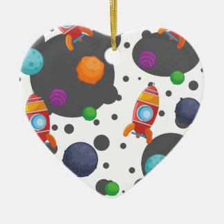 Wellcoda Rocket Moon Landing Space Wars Ceramic Heart Decoration
