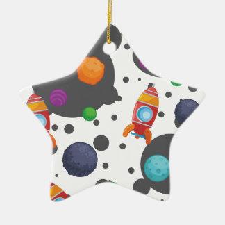 Wellcoda Rocket Moon Landing Space Wars Ceramic Star Decoration