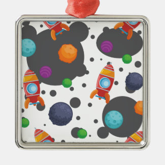 Wellcoda Rocket Moon Landing Space Wars Silver-Colored Square Decoration