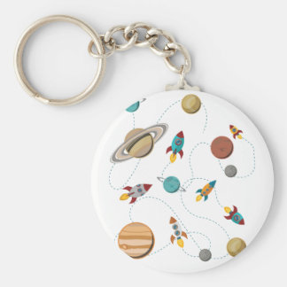 Wellcoda Rocket Space Landing Moon Wars Basic Round Button Key Ring