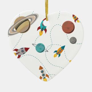 Wellcoda Rocket Space Landing Moon Wars Ceramic Heart Decoration