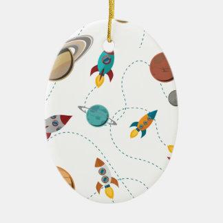 Wellcoda Rocket Space Landing Moon Wars Ceramic Oval Decoration