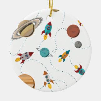 Wellcoda Rocket Space Landing Moon Wars Round Ceramic Decoration