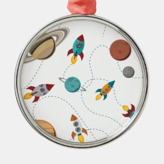 Wellcoda Rocket Space Landing Moon Wars Silver-Colored Round Decoration