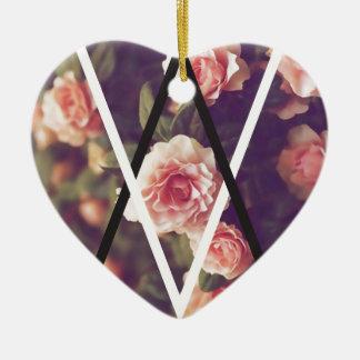 Wellcoda Romantic Rose Triangle Love Shape Ceramic Heart Decoration