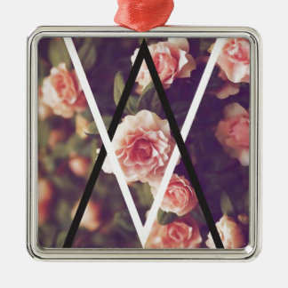 Wellcoda Romantic Rose Triangle Love Shape Silver-Colored Square Decoration