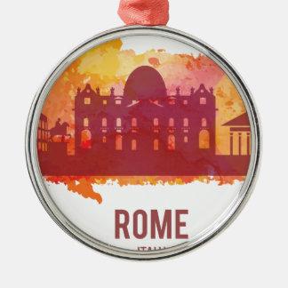Wellcoda Rome Italy Capital City Sight Silver-Colored Round Decoration