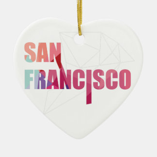 Wellcoda San Francisco City USA California Golden Ceramic Heart Decoration