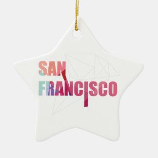 Wellcoda San Francisco City USA California Golden Christmas Ornament