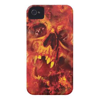 Wellcoda Scary Skull On Fire Hell Creepy Case-Mate iPhone 4 Case