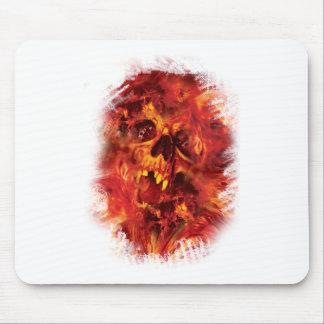 Wellcoda Scary Skull On Fire Hell Creepy Mouse Mat