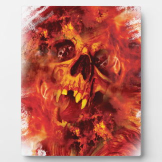 Wellcoda Scary Skull On Fire Hell Creepy Plaque
