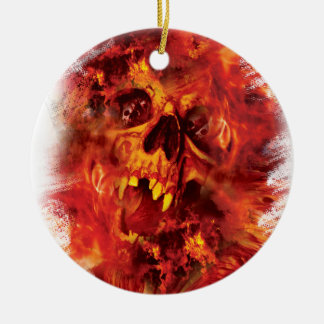 Wellcoda Scary Skull On Fire Hell Creepy Round Ceramic Decoration