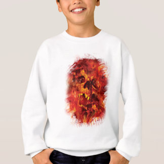 Wellcoda Scary Skull On Fire Hell Creepy Sweatshirt