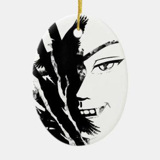 Wellcoda Scary Vampire Face Eagle Flight Ceramic Oval Decoration