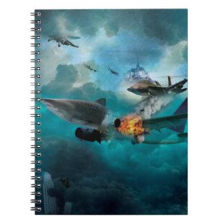 Wellcoda Shark Attack Airplane Air Combat Notebook