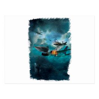 Wellcoda Shark Attack Airplane Air Combat Postcard